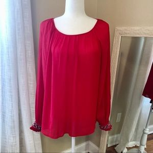Crown & Ivy Embellished Sleeve Red Blouse  sz. M